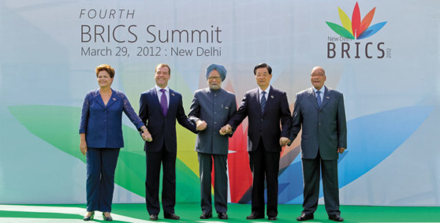 The leaders of the BRICS countries. Source: Wikimedia Commons