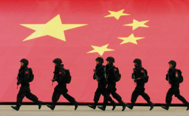 Special police force on the move. Source: Xinhua