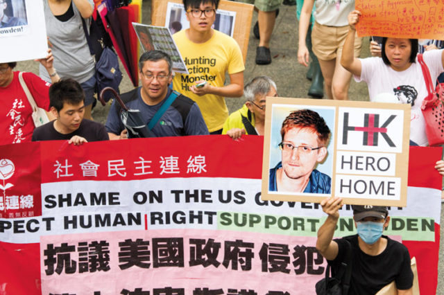 Rally in Hong Kong in support of Edward Snowden, 15 June 2013. Photo: See-ming Lee 李思明