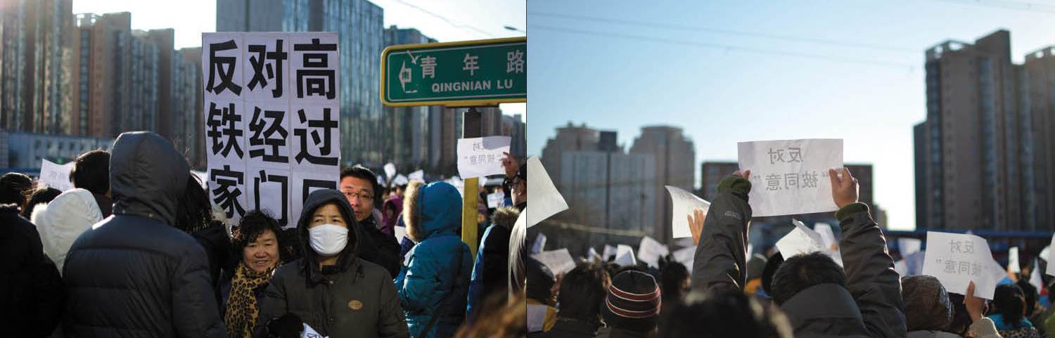 Beijing residents protest against high-speed railway construction. Photo: Jim Xue