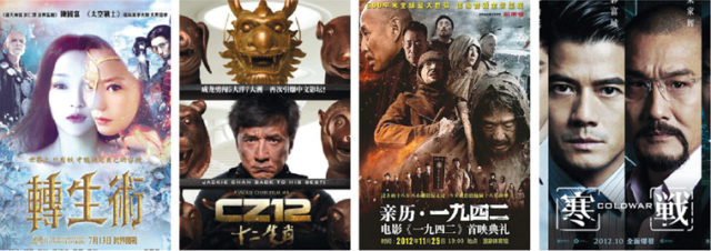 Film posters of top domestic films: Painted Skin; The Ressurection; CZ12; Back to 1942; Cold War. Sources: Qianqiandy.com, Fmoviemag.com, Wikimedia Commons, Wandafilm.