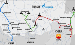 The potential pipelines that will be used to deliver Russian natural gas to China under the new deal signed by Gazprom and the China National Petroleum Corporation in May 2014 Source: RT/Gazprom