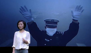 A still from the documentary Under the Dome with Chai Jing in the foreground Photo: cq.house.qq.com