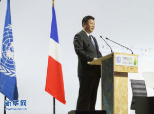 November 2015: President Xi Jinping delivers a speech for the opening day of the World Climate Change Conference 2015 (COP21) at Le Bourget, near Paris Photo: news.xinhuanet.com