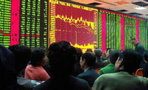 In the Chinese stock market, red indicates a gain in stock price while green indicates a loss Source: image.baidu.com