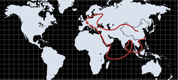 Map of the 'One Belt, One Road' route Source: Economist Intelligence Unit